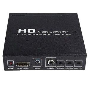 Image 2 - Najlepsze oferty PAL / NTSC SCART i HDMI na konwerter wideo HDMI Box 1080P Upscaler z wyjściem Audio 3.5mm i koncentrycznym dla konsoli do gier