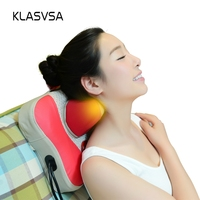 KLASVSA Electric Shiatsu Heating Neck Massage Pillow Kneading Magnet Therapy Head Neck Cervical Back Leg Rolloer Relax Massager