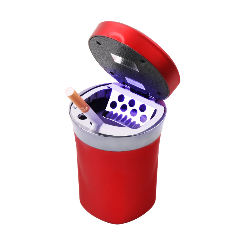 Rechargeable Solar Energy Car LED Ashtray Car Trash Can Removable Cigarette Lighter LED Light For Car Cup Holder in Car Ashtray from Automobiles Motorcycles