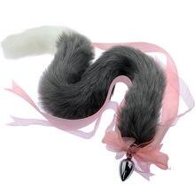 Lazo de cola de zorro y gato superlargo de 80 Cm, tapón Anal de Metal, accesorios de Cosplay eróticos, Juguetes sexuales para adultos para parejas