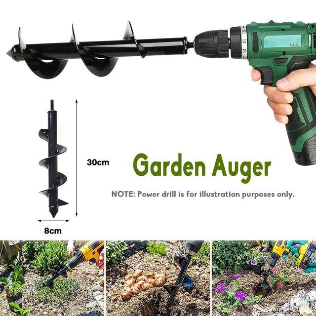 10 / 12 Inch Garden Auger Spiral Drill Bit Flower Planter Bulb Shaft Drill Auger Yard Gardening Bedding Planting Tool