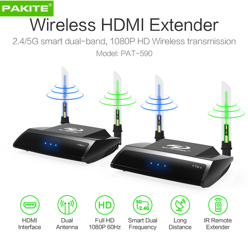 PAT-590 5.0G 2.4G Dual-band 200m Wireless Hdmi Extender HD Video Transmitter And Receiver With IR Remoter For TV