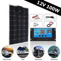 Newest 3in1 100W 12V MC4 Solar Panel Kit Solar Power System Suit 30A PWM Multifunction Controller 30cm DC Male Cable