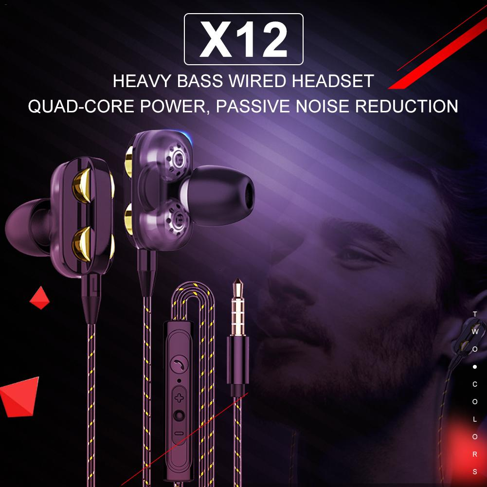 X12 3.5MM Headset Double Moving Coil Quad Core Earphone Wire Control Dedicated Subwoofer Universal Subwoofer Headphone With Mic