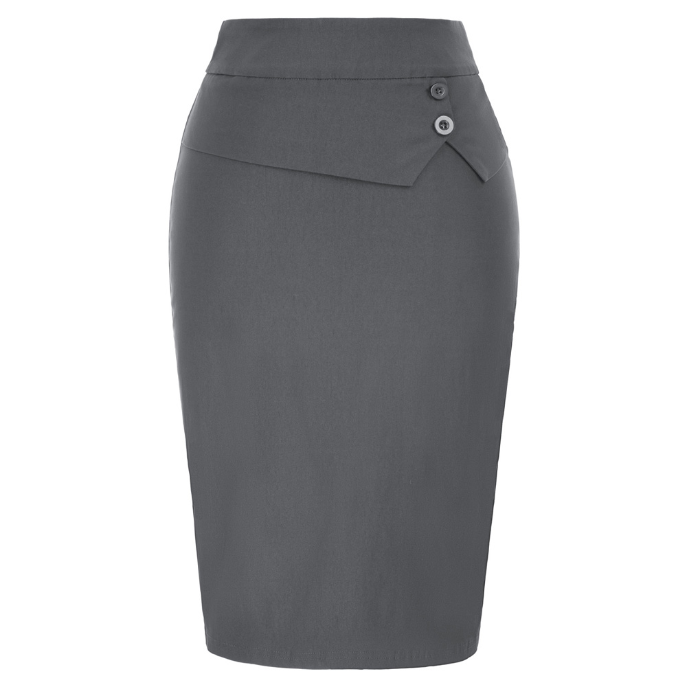 GK Classic Skirts Women's Work Wear Party Office Business Party Buttons Decor Stretch Back Split Hips-wrapped Bodycon Slim Skirt