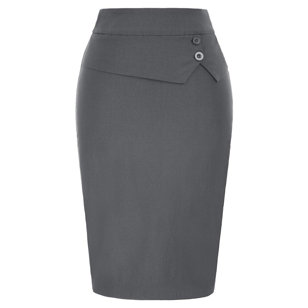 5a202f2c5 GK faldas clásicas para mujer ropa de trabajo de fiesta de oficina de  negocios botones de fiesta ...