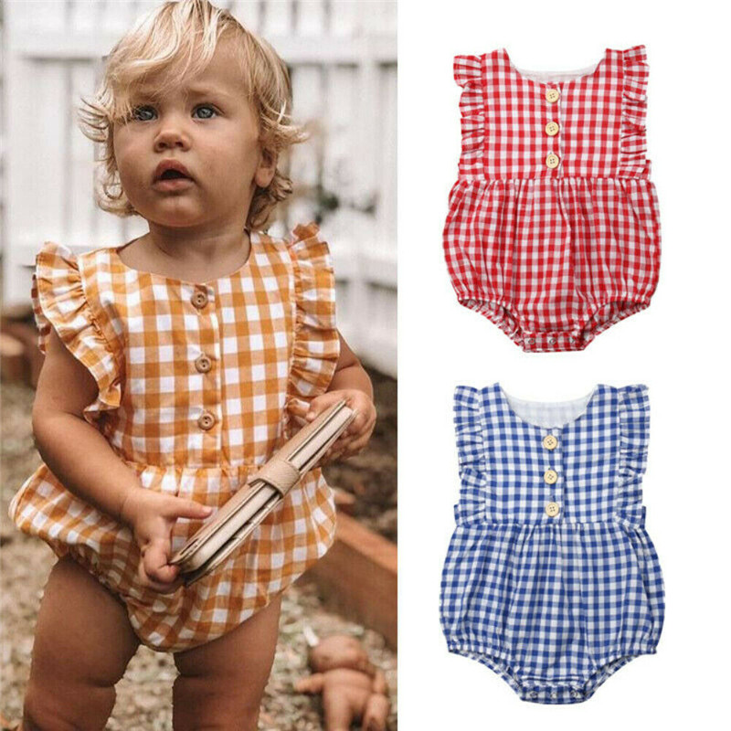 9995a964f 0-24M Fashion Newborn Baby Girls Plaid Rompers Ruffle Sleeveless Button  Sunsuit Baby Girl O-Neck Romper Summer Cotton Clothes ~ Super Deal June 2019