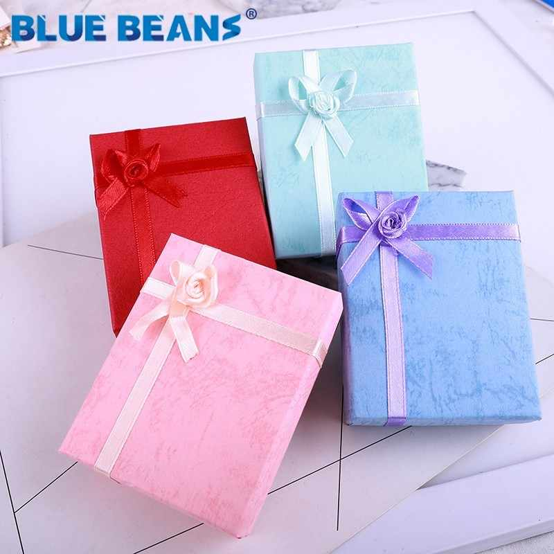 Jewelry Necklace Earrings Ring packaging Box Hot sell Paper Gift Box Organizer sponge boxes gift Bangles Bow 2019 New Yellow Red
