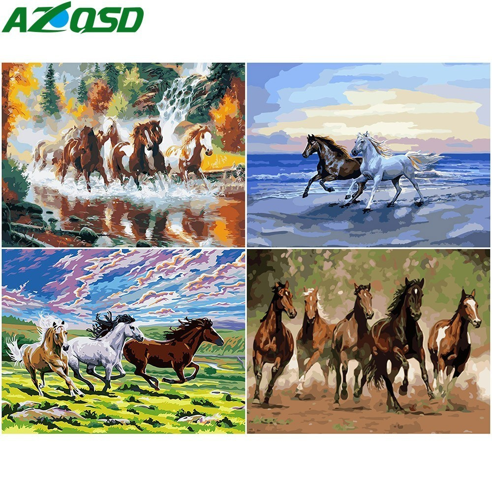 AZQSD Modern Painting By Numbers Horse Paint DIY Canvas Picture Hand Painted Oil Painting Animals K023