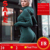 Bodycon Jumpsuit Tracksuit Winter Warm Bodysuit Hooded Long Sleeve Turtleneck Zipper Up Romper 2018 Autumn Fashion Women Clothes