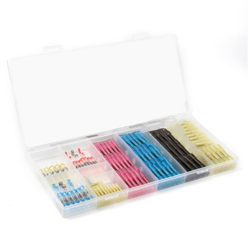 200pcs Intermediate Heat Shrink Butt Wire Cable Connectors Waterproof Solder Multi colored Sleeve Assortment With Box