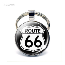 Route 66 Highway Road Sign Jewelry Silver Keychain Glass Cabochon Metal Key Chain Fashion Travel Pendant Traveler Gift