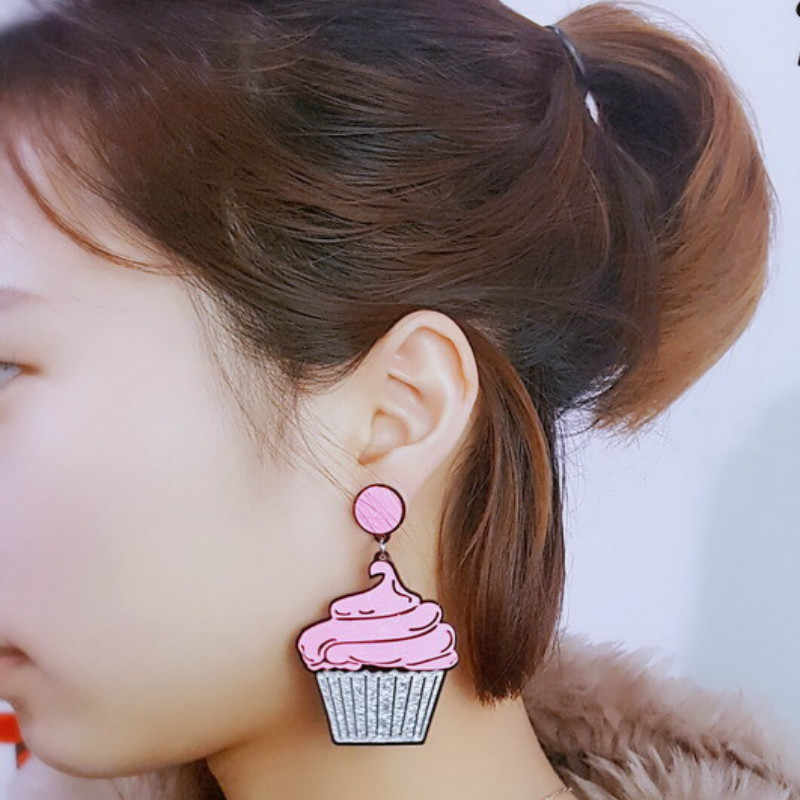 2019 New Sweet Candy CD Earrings Acrylic Multi Layer Cake Lovely Food Ice Cream Earrings for Women Cute Jewelry Pendientes Mujer
