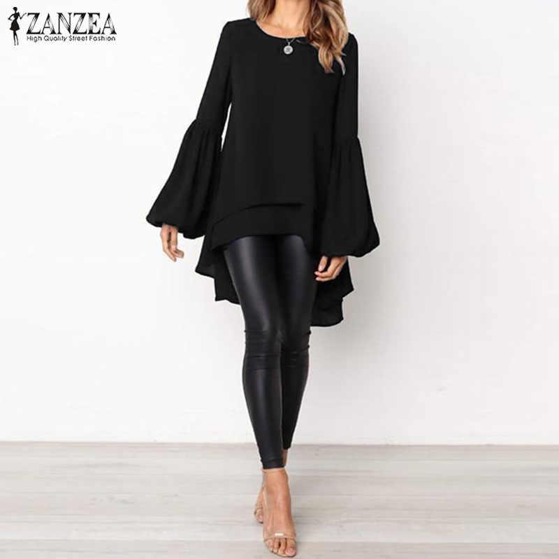 ZANZEA 2019, модные Асимметричные рубашки, Vestido, Летние Женские однотонные вечерние блузы, повседневные свободные длинные блузы с длинным рукавом-фонариком