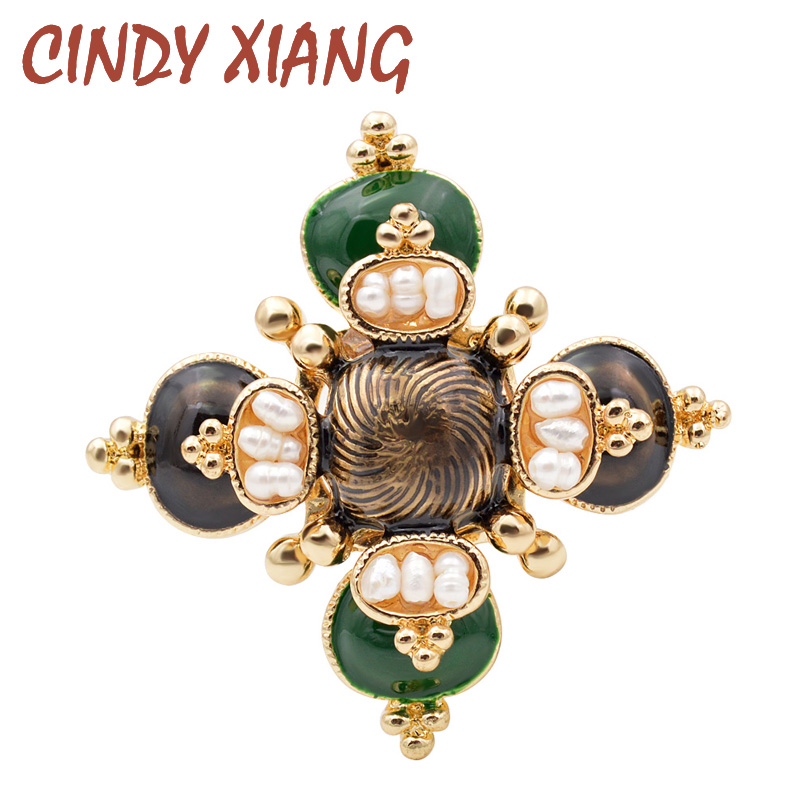 CINDY XIANG Freshwater Pearl Cross Brooches Unisex Baroque Pins Women and Men Jewelry Enamel Broches High Quality New Design|Brooches| - AliExpress