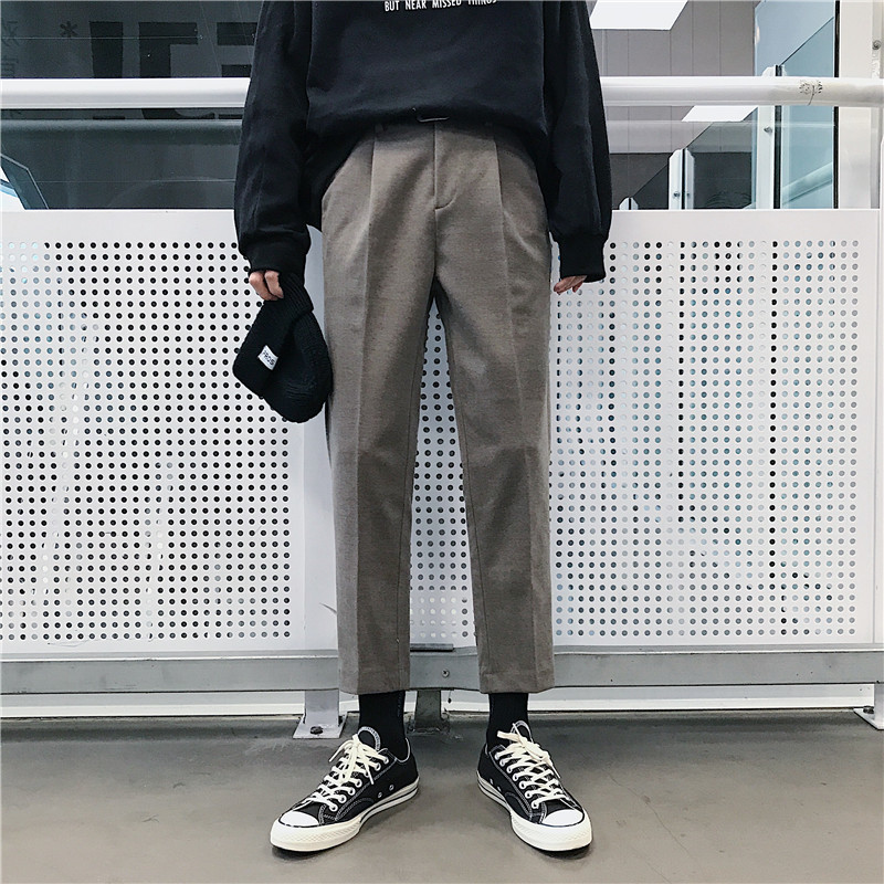 Men's Casual Pants 2019 Spring New Solid Color Personality Nine Points Pants Wool Pants Loose Self-cultivation Men's Trousers