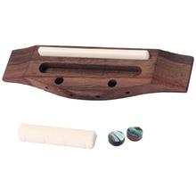 4-String Guitar Parts Rosewood Bridge&Cream Saddle Nut&Shell Dot for Ukulele