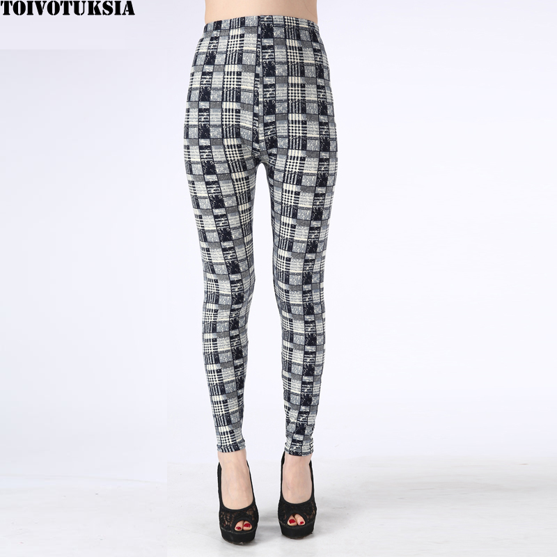 TOIVOTUKSIA Brushed Black Milk   Leggings   Pants Female Elastic Printed Plaid   Leggings   Trousers Women   Legging