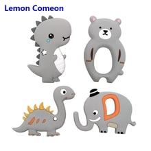 Lemon Comeon 1PC Cute Baby Teether Food Grade Silicone Gray Elephant Dinosaur Bear Nursing Beads Tool Pendant Animal
