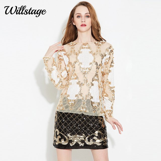 c6563959d3e Willstage Sequins Top Women T-shirt Long Sleeve Mesh Sexy Shirt Pearl  embroidery 2019 Spring Tees Gold Silver Bling Party blusa