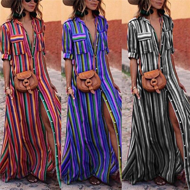 2019 Boho Dresses Women Fashion Evening Party Summer Beach Sundress Striped Shirt Long Maxi Dress Female Vestidos