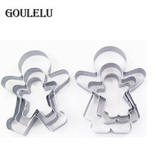 3pcs Christmas Ginger Bread MAN WOMAN BOY GIRL Baking Tool Set Press Maker Mold Pastry Cake Cookie Biscuit Cutter(China)