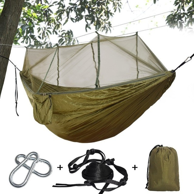 Outdoor Mosquito Net Hammock Camping Hanging Sleeping Bed Swing Double Chair Hamac Army Green 1-2 Person Use With 3m Straps