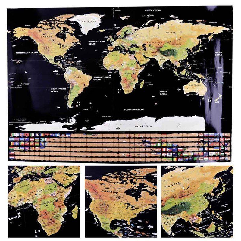 825x594 Cm Siyah Dünya Seyahat Haritası Kapalı Scratch Harita