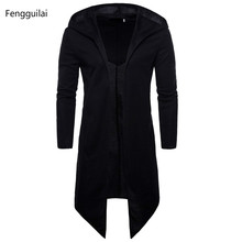 Trench Coat Men Spring Fashion Casual Long Windbreaker Slim Fit Trench Coat Plus Size Men  Overcoat warm winter