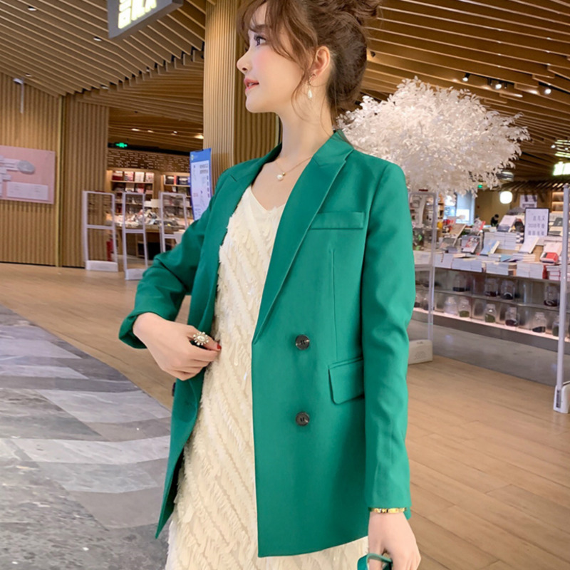 PEONFLY Double Breasted Office Lady Formal Blazer Solid Women Spring 2019 Fashion Suit Slim Female Long Sleeve Loose Coat Jacket