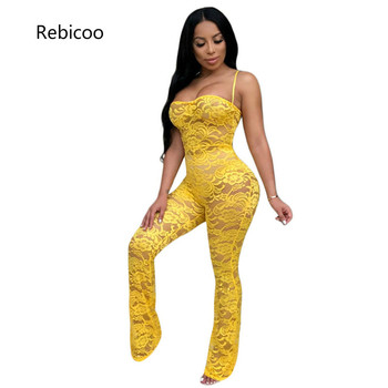 Women Sexy Sheer Lace Crochet Jumpsuit Solid 4 Colors Spaghetti Straps Strapless Night Club Romper without Headband