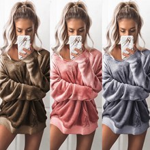 Sexy Women Pullover Velvet Sleep Tops Winter Warm Fashion Sleep Loose Home Sleeping Clothes Cute Solid Loose Pajamas