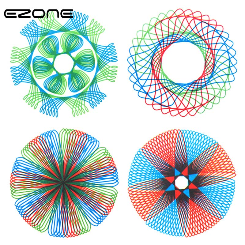EZONE 1PC Multi-function Puzzle Spirograph Geometric Painting Ruler Stationery For Students Supply Creative Gift Color Random