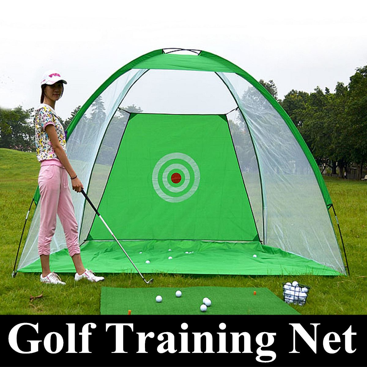 1m/3m Foldable Golf Hitting Cage Practice Net Trainer + Training Aid Mat + Driver Iron Practice Backyard Office Outdoor Durable