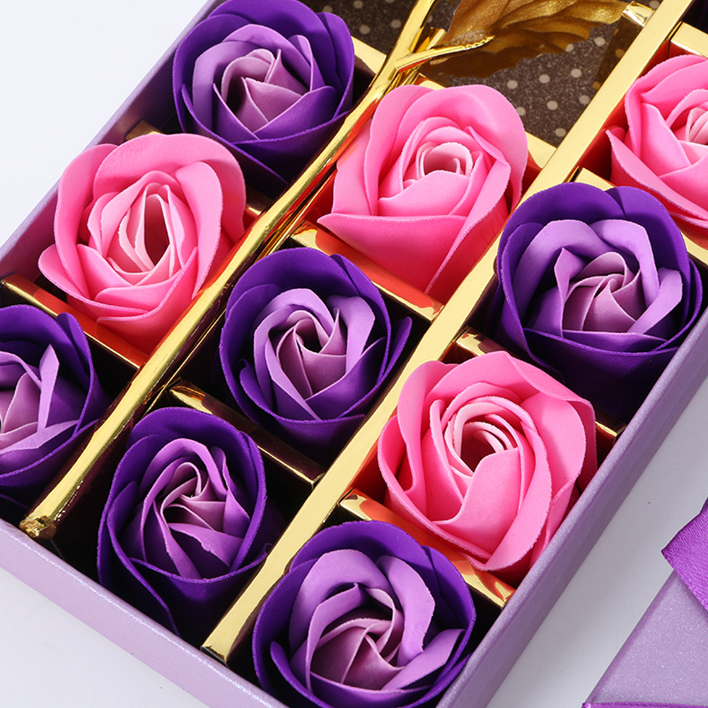 Soap-Flower Rose Wedding-Birthday-Gifts Creative with Gold 24k-Foil Pink Purple Easy-To-Carry