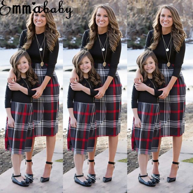 Brand New 2018 Women Family Matching Dress Fashion Mom Girls Long Sleeve Plaid O-neck Dress Mother And Daughter Clothes Newest 6