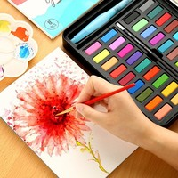 36 Colors Portable Solid Watercolor Paint Set With Paintbrush Bright Color Painting Pigment Set For Student Art Supplies