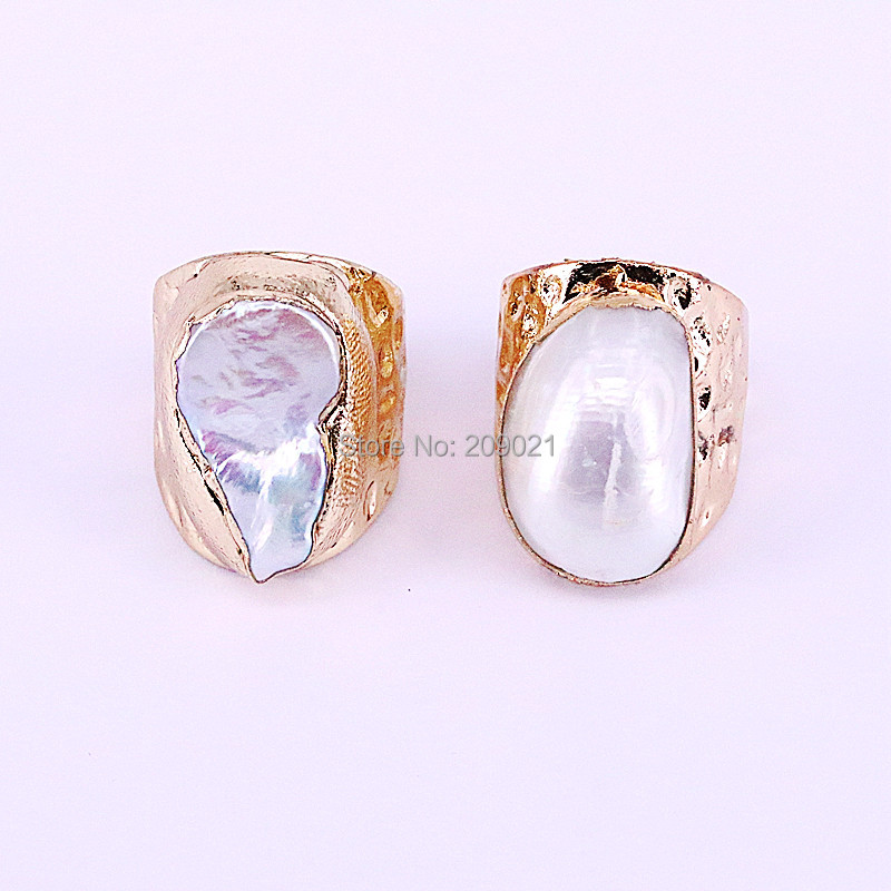 Image 4 - NEW Charm 6Pcs Gold Electroplated Natural Fresh Water Pearl Shell  Rings Fashion Woman Jewelry Copper RingsRings
