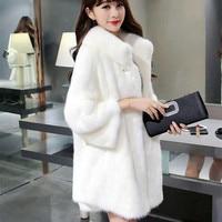 Fashion Women Faux Fur Coat Female Fur Coat Fake Fur Collar Casual Winter High End Warm Outerwear Jacket Manteau Femme Hiver