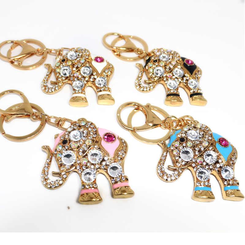 الفيل حقيبة قلادة سلسلة مفاتيح قلادة محظوظ مفتاح سلسلة حلقية يدافع الشر هدية موضة حجر الراين تاج الفيل الأبيض المفاتيح