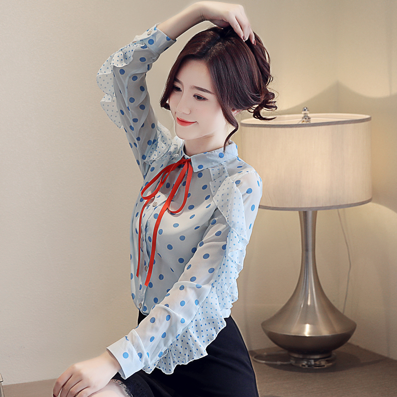 2019 Spring female office new bow wave point long sleeve chiffon shirt women 39 s fashion chic Bow Ruffle blouse in Blouses amp Shirts from Women 39 s Clothing