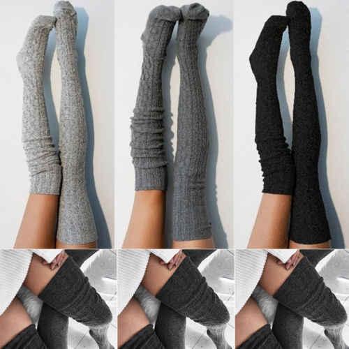 2019 ใหม่แฟชั่นผู้หญิงสุภาพสตรีถุงน่องสายถักยาวพิเศษ Boot กว่าเข่าต้นขาสูงอบอุ่นสีเทาสีดำ