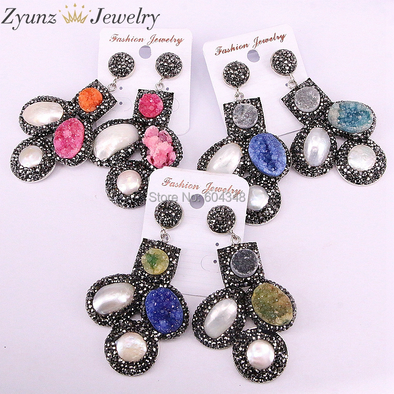 3 Pairs ZYZ335 6533 Crystal geode quartz Dangle Earrings Pave Rhinestone Quartz Stone and Pearl shell