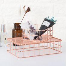 Makeup Organiser Pen-Holder Wire Shelves Toiletries Brush New-Storage-Basket PPYY Rose-Gold