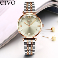 CIVO Women Fashion Gold Steel Strap Ladies Watch Waterproof Dress Watches Womens Bracelet Wristwatch Clock For Woman