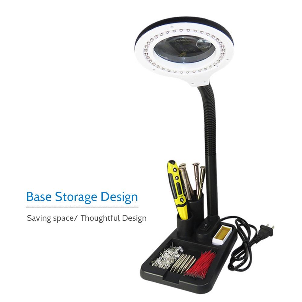 LED Table Lamp Illuminated Flexible Bendable Desk Light Eye Protection Reading Lamp With Storage Basket Magnifying Lens Design