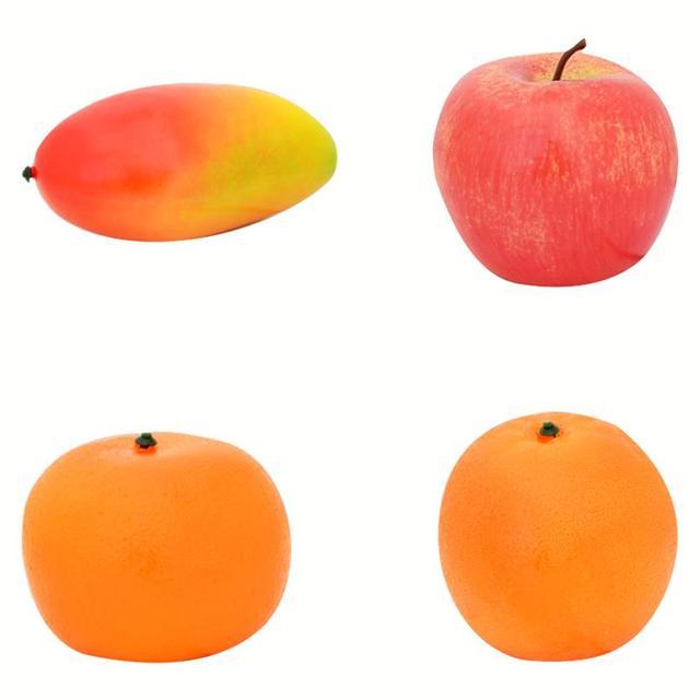 834bb3f8c888 4 Pcs Decorative Foam Fake Fruit Apple Mango Orange DIY Plastic Artificial  Fruit For Home Decor