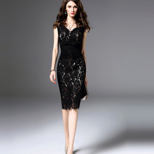 MUXU fashion black lace dress pencil patchwork vestido sexy kleider clothing v neck streetwear frocks jurken bodycon clothes