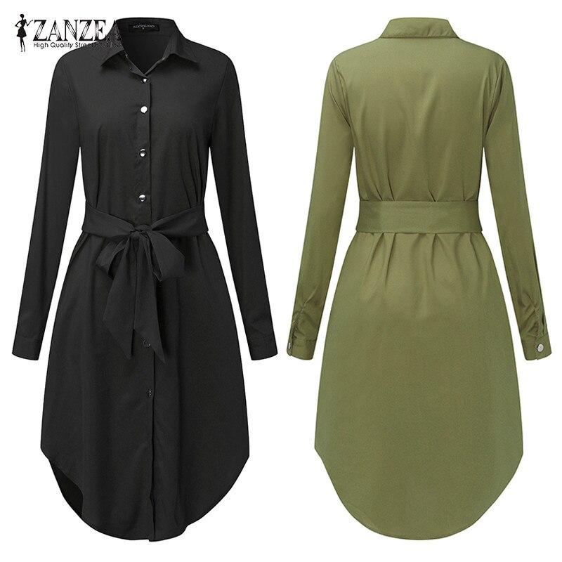 Printemps à manches longues Blouse chemise robe avec ceinture femmes surdimensionné robe Midi rétro tunique décontracté bureau travail Vestidos grande taille 5XL