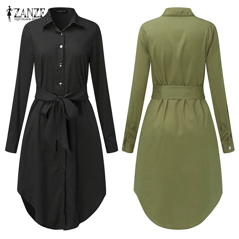 Spring Long Sleeve Blouse Shirt Dress With Belt Women Oversized Midi Dress Retro Tunic Casual Office Work Vestidos Plus Size 5XL